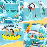 Set of water extreme sports backgrounds  Stock Photos