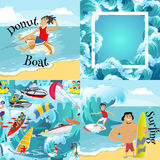 Set of water extreme sports backgrounds  Royalty Free Stock Photography