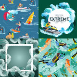 Set of water extreme sports backgrounds, isolated design elements  Stock Photos