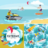 Set of water extreme sports backgrounds, isolated design elements. Set of water extreme sports icons, isolated design elements for summer vacation activity fun Stock Photography