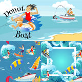 Set of water extreme sports backgrounds, isolated design elements for summer vacation activity fun concept, cartoon wave. Set of water extreme sports icons Stock Illustration