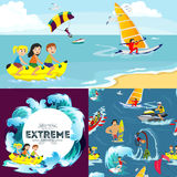 Set of water extreme sports backgrounds, isolated design elements for summer vacation activity fun concept, cartoon wave Royalty Free Stock Image