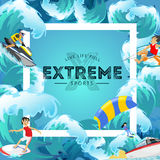 Set of water extreme sports backgrounds, isolated design elements for summer vacation activity fun concept, cartoon wave. Set of water extreme sports icons Vector Illustration