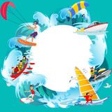 Set of water extreme sports backgrounds, isolated design elements for summer vacation activity fun concept, cartoon wave. Set of water extreme sports icons royalty free illustration
