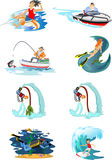 Set of water extreme sports icons,  design elements for summer vacation activity fun concept, cartoon wave Royalty Free Stock Images