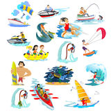 Set of water extreme sports icons, isolated design elements for summer vacation activity fun concept, cartoon wave. Surfing, sea beach vector illustration Stock Illustration