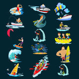 Set of water extreme sports icons, isolated design elements for summer vacation activity fun concept, cartoon wave Stock Photography