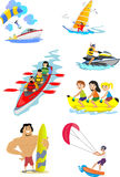 Set of water extreme sports icons. Set of water extreme sports icons, isolated design elements for summer vacation activity fun concept, cartoon wave surfing Royalty Free Stock Image