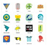 Set of, water filter, s, new item, stealth bomber, sector, transparent gear, extend, yield icons. Set Of 16 simple editable icons such as, water filter, car Royalty Free Stock Images
