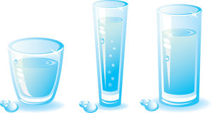 Set of water glass. Composition with a shade and drops.Isolated on a white background. Vector illustration (EPS8). All parts (object) closed, possibility to Royalty Free Stock Photography