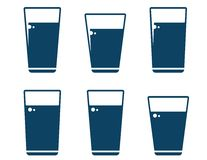 Set of water glass icons. On white background Royalty Free Stock Images