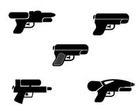 Set of water gun icons in silhouette style, vector Royalty Free Stock Images