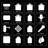 Set of Water, Home, Plug, Doorknob, Eco home, Thermostat, Smart. Set Of 16 icons such as Water, Home, Plug, Microphone, Air conditioner, Thermostat, Doorknob royalty free illustration
