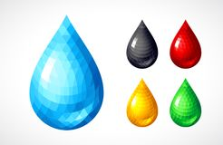 Set of water, honey, blood, petrol drops Stock Photo