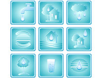 Set of water icons. Blue set of water icons with drop, house, tree and planet Royalty Free Stock Images