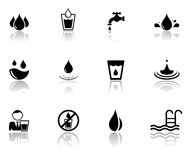 Set of water icons with reflection silhouette Stock Image