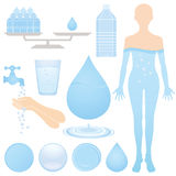 Set of water illustrations. Human Body is made up of 60~70% water vector illustration