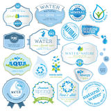 Set of water labels. Set of labels and stickers for water vector illustration