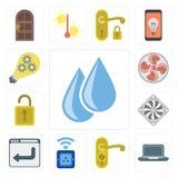 Set of Water, Laptop, Doorknob, Socket, Browser, Cooler, Unlock, Vector Illustration