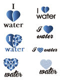 Set water logo. I love water Royalty Free Stock Photography