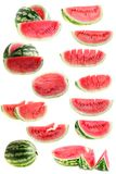 Set  water-melon, isolated. Royalty Free Stock Image