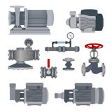 Set-water motor, pump, valves for pipeline. Vector Royalty Free Stock Photo