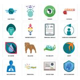 Set of water resistant, online form, inflammation, future city, no water, personal details, baboon, hunger, semi truck icons. Set Of 16 simple editable icons Royalty Free Stock Photography