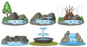 Set of water scenes. Illustration royalty free illustration