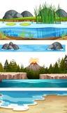 Set of water scenes. Illustration stock illustration