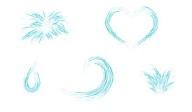 Set of water splash heart wave and drop Royalty Free Stock Photos