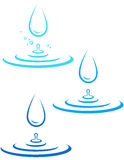 Set with water splash and drop Royalty Free Stock Images