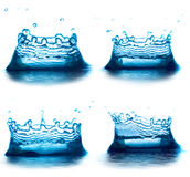 Set of water splashes like crown. isolated Royalty Free Stock Photos
