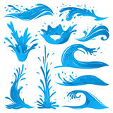 Set of water splashes wave twirl isolated surge blue sparks breaker vector illustration Stock Photography