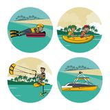 Set of water sports cartoons Stock Images