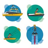Set of water sports cartoons Royalty Free Stock Image