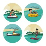 Set of water sports cartoons Stock Image