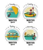 Set of water sports cartoons Royalty Free Stock Photo