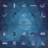 Set of water sports icons Royalty Free Stock Photo