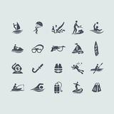 Set of water sports icons Royalty Free Stock Photos