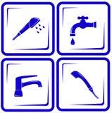 Set water supply faucet mixer, tap, valve icon Stock Photo