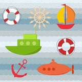 Set of water transport stickers. Eps 10 Stock Photography
