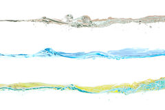 Set of water waves natural, blue and yellow colors Royalty Free Stock Photography