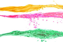 Set of water waves yellow, red and green colors. On a white background Royalty Free Stock Photo