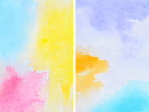 Set of Watercolor Abstractions. Hand Drawn and Painted Royalty Free Stock Photos