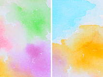 Set of Watercolor Abstractions. As Background, Hand Drawn and Painted Stock Photo