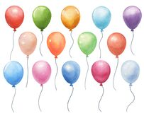 Set of watercolor air balloons on white. hand painted greeting elements illustration