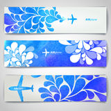 Set of watercolor Airplane artistic banners Stock Images