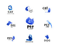 Set of watercolor animal logo isolated on white background. Stock Photography