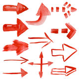 Set of watercolor arrows Royalty Free Stock Image