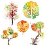 Set of Watercolor Autumn Trees Stock Photos